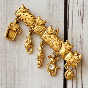 vintage gold cat brooch pin mouse bird charm